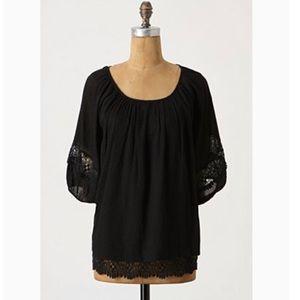 Anthropologie Lil black lace hem peasant blouse